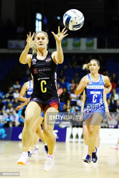 Ariana CableDixon of the Magic secures the ball during the NZ Premiership match between the Mystics and the Magic at Trusts Stadium on April 16 2017...