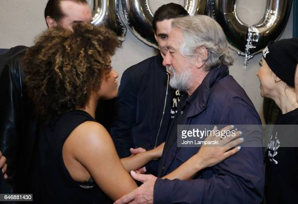 Ariana DeBose and Robert Di Niro attend 'A Bronx Tale' as it celebrates 100th performance on Broadway at Longacre Theatre on March 1 2017 in New York...