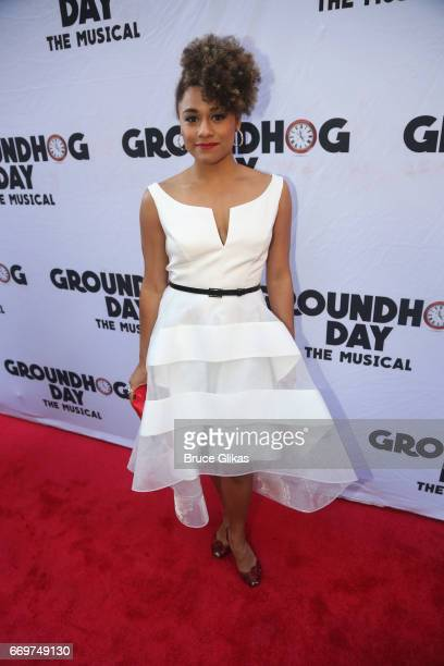 Ariana Debose poses at the opening night of the new musical based on the film 'Groundhog Day' on Broadway at The August Wilson Theatre on April 17...
