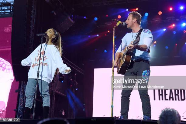 Ariana Grande and Chris Martin perform on stage during the One Love Manchester Benefit Concert at Old Trafford Cricket Ground on June 4 2017 in...