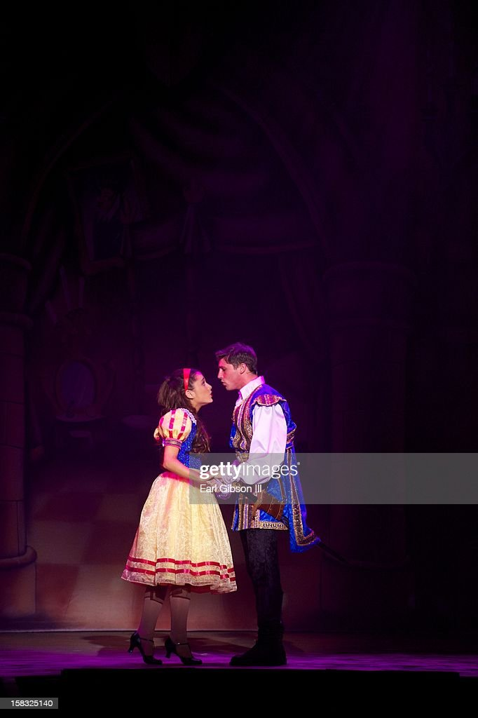 <a gi-track='captionPersonalityLinkClicked' href=/galleries/search?phrase=Ariana+Grande&family=editorial&specificpeople=5586219 ng-click='$event.stopPropagation()'>Ariana Grande</a> and Curt Hansen perform on Opening Night in 'A Snow White Christmas' at the Pasadena Playhouse on December 12, 2012 in Pasadena, California.