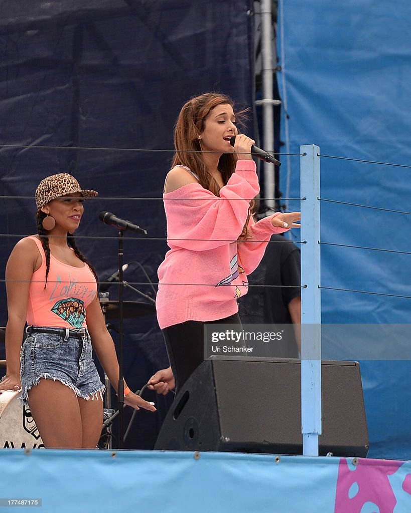 Ariana Grande attends the 2013 Arthur Ashe Kids Day Rehearsals at USTA Billie Jean King National Tennis Center on August 23, 2013 in the Queens borough of New York City.