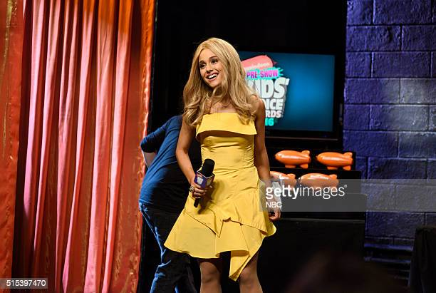 LIVE 'Ariana Grande' Episode 1698 Pictured Ariana Grande as Brynlee Dobbs during the 'Kids' Choice Awards' sketch on March 12 2016