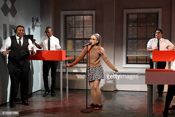 LIVE 'Ariana Grande' Episode 1698 Pictured Kenan Thompson Jay Pharoah Ariana Grande and Bobby Moynihan during the 'Tidal' sketch on March 12 2016
