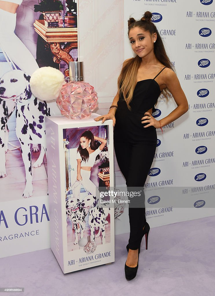 Ariana Grande meets 200 adoring fans at Boots in Piccadilly Circus to launch her debut fragrance ARI by Ariana Grande at Boots on November 4 2015 in...