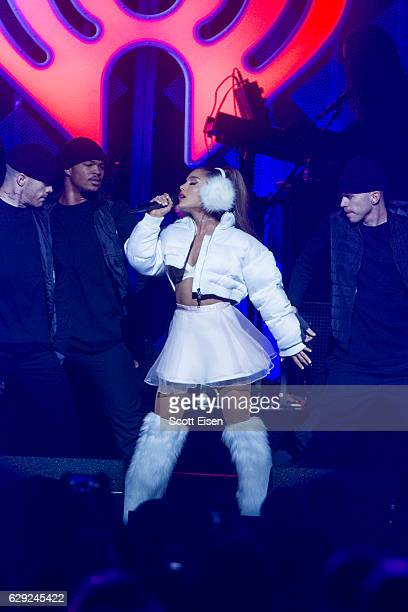 Ariana Grande performs at TD Banknorth Garden during the KISS 108 iHeartRadio Jingle Ball presented by Capital One on December 11 2016 in Boston...