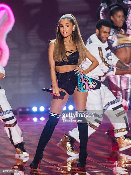 Ariana Grande performs at the annual Victoria's Secret fashion show at Earls Court on December 2 2014 in London England