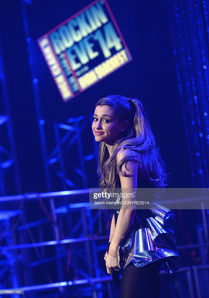 <a gi-track='captionPersonalityLinkClicked' href=/galleries/search?phrase=Ariana+Grande&family=editorial&specificpeople=5586219 ng-click='$event.stopPropagation()'>Ariana Grande</a> performs during Dick Clark's New Year's Rockin' Eve with Ryan Seacrest 2014 at Sunset Gower Studios on December 31, 2013 in Los Angeles, California.