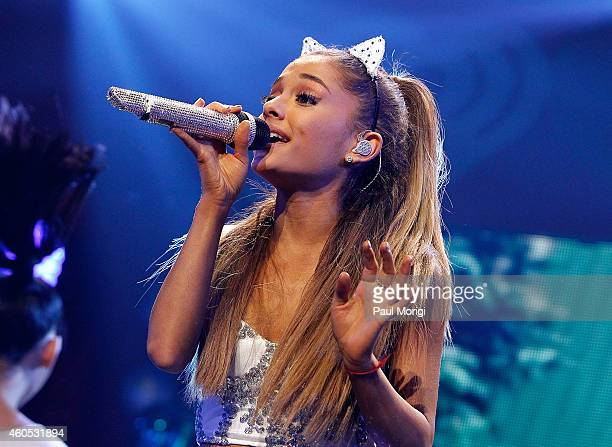 Ariana Grande performs during Hot 995's Jingle Ball 2014 at the Verizon Center on December 15 2014 in Washington DC