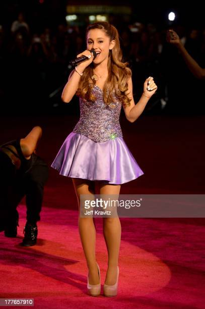 Ariana Grande performs during the 2013 MTV Video Music Awards preshow at the Barclays Center on August 25 2013 in the Brooklyn borough of New York...