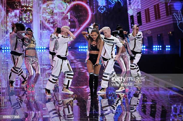 Ariana Grande performs during the 2014 Victoria's Secret Fashion Show at Earl's Court exhibition centre on December 2 2014 in London England
