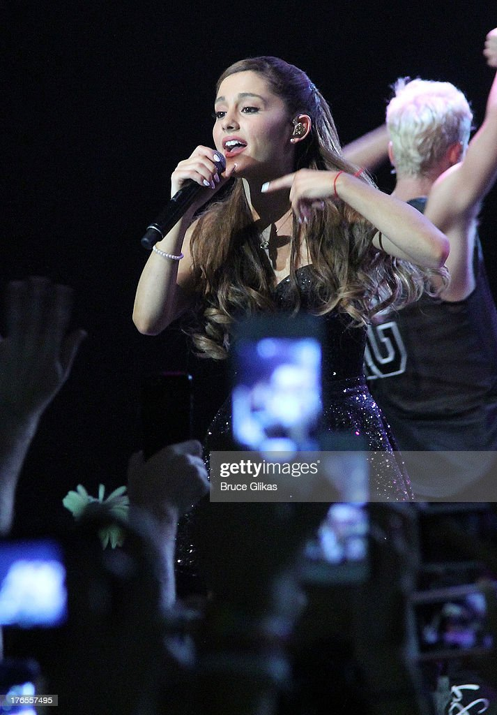 <a gi-track='captionPersonalityLinkClicked' href=/galleries/search?phrase=Ariana+Grande&family=editorial&specificpeople=5586219 ng-click='$event.stopPropagation()'>Ariana Grande</a> performs her new CD 'Yours Truly: The Listening Sessions' at Best Buy Theater on August 14, 2013 in New York City.