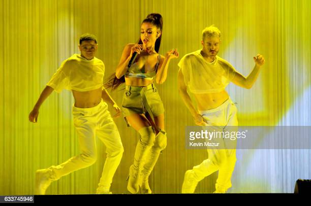 Ariana Grande performs on stage during the 'Dangerous Woman' Tour Opener at Talking Stick Resort Arena on February 3 2017 in Phoenix Arizona