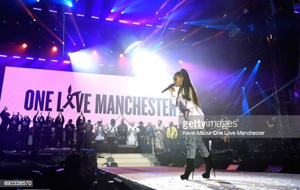 Ariana Grande performs on stage during the One Love Manchester Benefit Concert at Old Trafford Cricket Ground on June 4 2017 in Manchester England