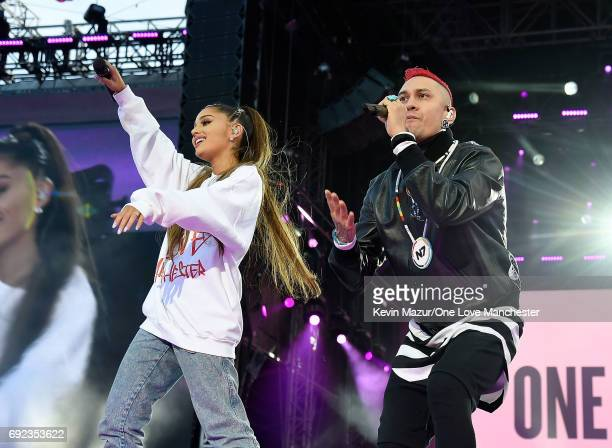 Ariana Grande performs on stage with Taboo of The Black Eyed Peas during the One Love Manchester Benefit Concert at Old Trafford Cricket Ground on...