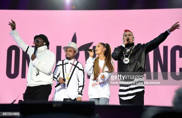 Ariana Grande performs on stage with The Black Eyed Peas during the One Love Manchester Benefit Concert at Old Trafford Cricket Ground on June 4 2017...