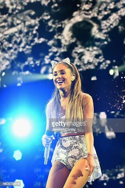 Ariana Grande performs onstage during HOT 995's Jingle Ball 2014 Presented by Mattress Warehouse at the Verizon Center on December 15 2014 in...
