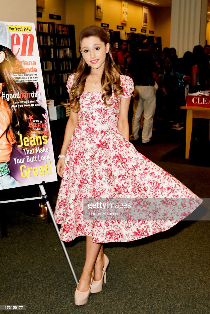 Ariana Grande signs copies of the August edition of Seventeen Magazine at Barnes Noble at The Americana at Brand on July 8 2013 in Los Angeles...