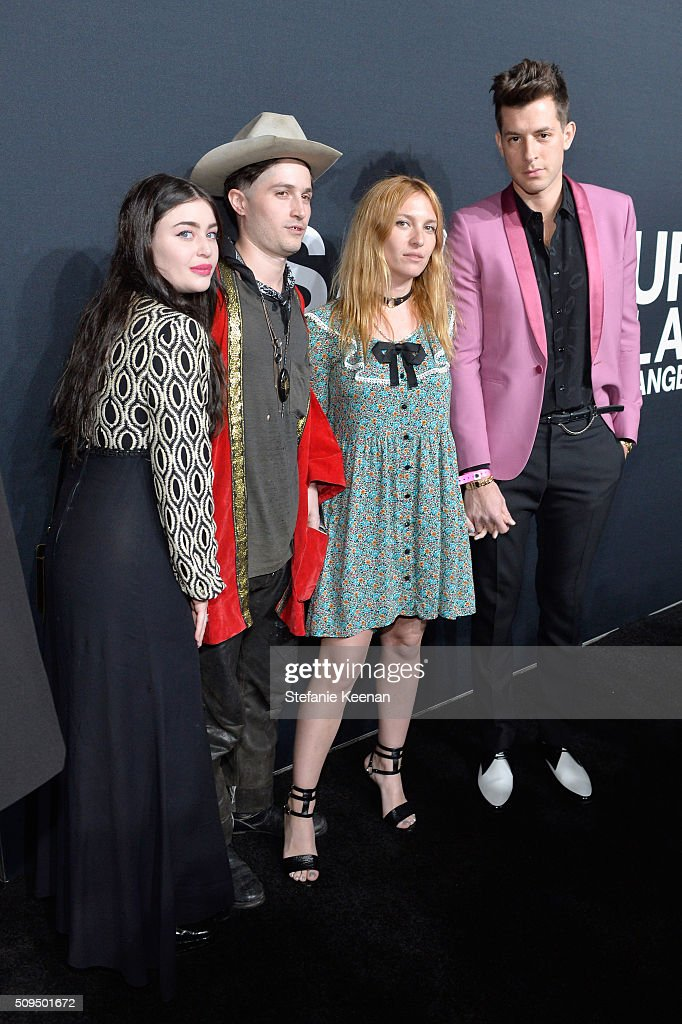 Ariana Papademetropoulos, Cole Alexander, Josephine De La Baume and recording artist Mark Ronson, in Saint Laurent by Hedi Slimane, attend Saint Laurent at the Palladium on February 10, 2016 in Los Angeles, California for the Saint Laurent Los Angeles show.