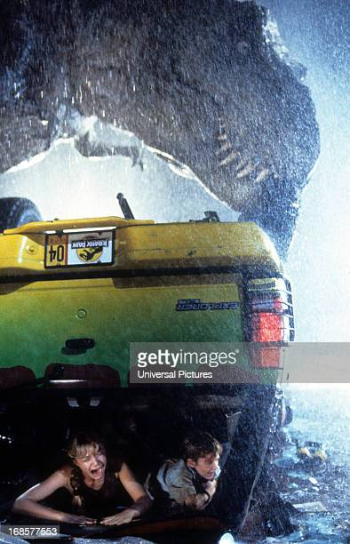 Ariana Richards and Joseph Mazzello are trapped in a truck in a scene from the film 'Jurassic Park' 1993