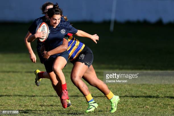 Ariana Te Whata of Southland Girls High is tackled during the Southland Secondary School Girls Final match between Southland Girls High School v...