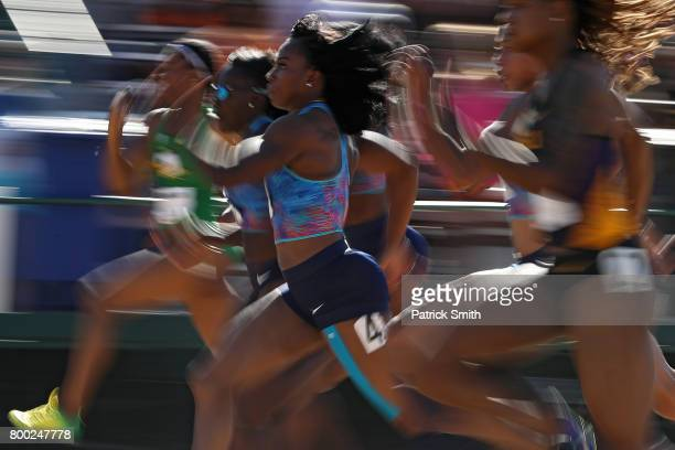 Ariana Washington competes in the Women's 100m Semifinals during Day 2 of the 2017 USA Track Field Outdoor Championships at Hornet Stadium on June 23...