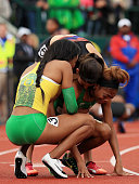 Ariana Washington Deajah Stevens and Jenna Prandini celebrate after the Women's 200 Meter Final during the 2016 US Olympic Track Field Team Trials at...