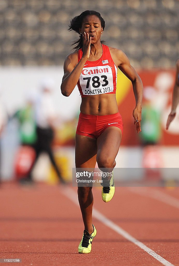 Ariana Washington of USA in the Girls 100m Round 1 during Day 1 of the IAAF World Youth Championships at the RSC Olimpiyskiy Stadium on July 10, 2013 in Donetsk, Ukraine.