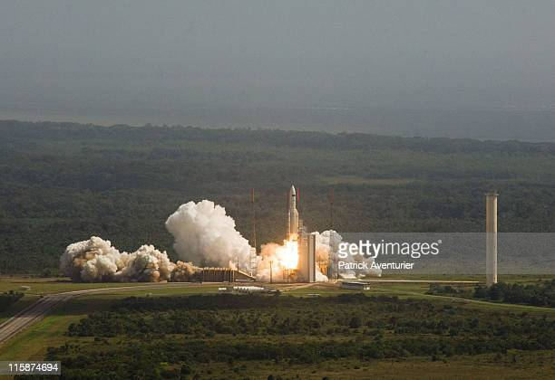 Ariane 5 launches at the European Spaceport on May 14 2009 in Kourou French Guiana