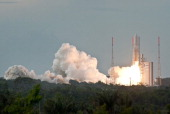 Ariane 5 launches at the European Spaceport on May 28 2011 in Kourou French Guiana