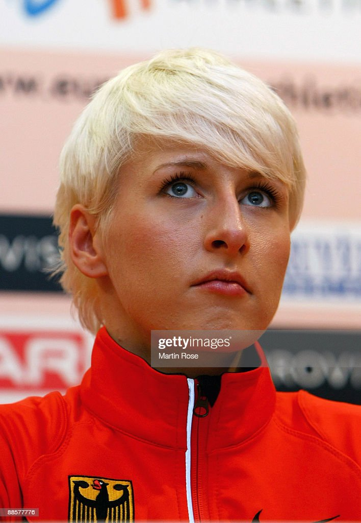 <a gi-track='captionPersonalityLinkClicked' href=/galleries/search?phrase=Ariane+Friedrich&family=editorial&specificpeople=2507867 ng-click='$event.stopPropagation()'>Ariane Friedrich</a> of Germany attend the opening press conference of the Spar Europeam Team Championship at the Estadio Municipal on June 19, 2009 in Leiria, Portugal.