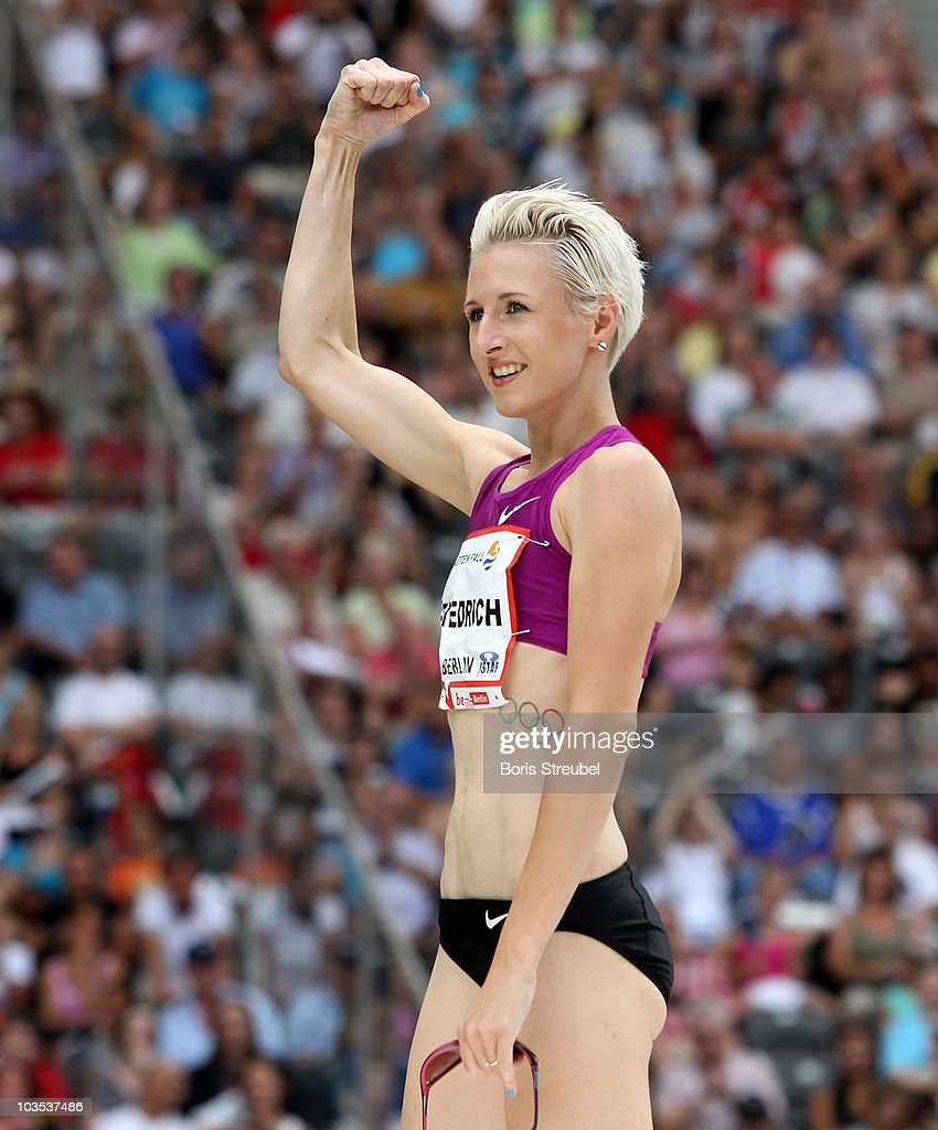 <a gi-track='captionPersonalityLinkClicked' href=/galleries/search?phrase=Ariane+Friedrich&family=editorial&specificpeople=2507867 ng-click='$event.stopPropagation()'>Ariane Friedrich</a> of Germany celebrates after winning the women's high jump during the IAAF World Challenge ISTAF 2010 at the Olympic Stadium on August 22, 2010 in Berlin, Germany.
