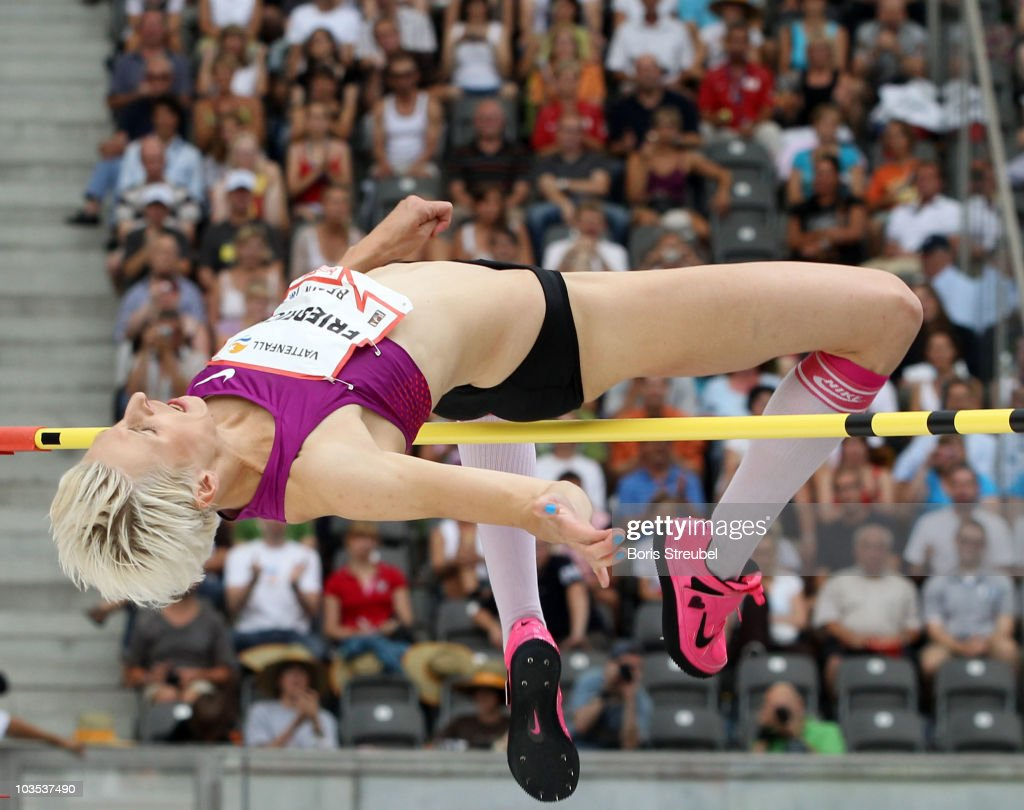 <a gi-track='captionPersonalityLinkClicked' href=/galleries/search?phrase=Ariane+Friedrich&family=editorial&specificpeople=2507867 ng-click='$event.stopPropagation()'>Ariane Friedrich</a> of Germany clears the bar in the women's high jump during the IAAF World Challenge ISTAF 2010 at the Olympic Stadium on August 22, 2010 in Berlin, Germany.