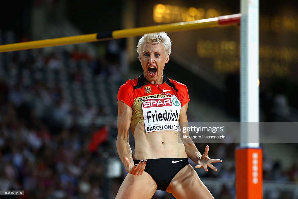 <a gi-track='captionPersonalityLinkClicked' href=/galleries/search?phrase=Ariane+Friedrich&family=editorial&specificpeople=2507867 ng-click='$event.stopPropagation()'>Ariane Friedrich</a> of Germany competes in the Womens High Jump Final during day six of the 20th European Athletics Championships at the Olympic Stadium on August 1, 2010 in Barcelona, Spain.