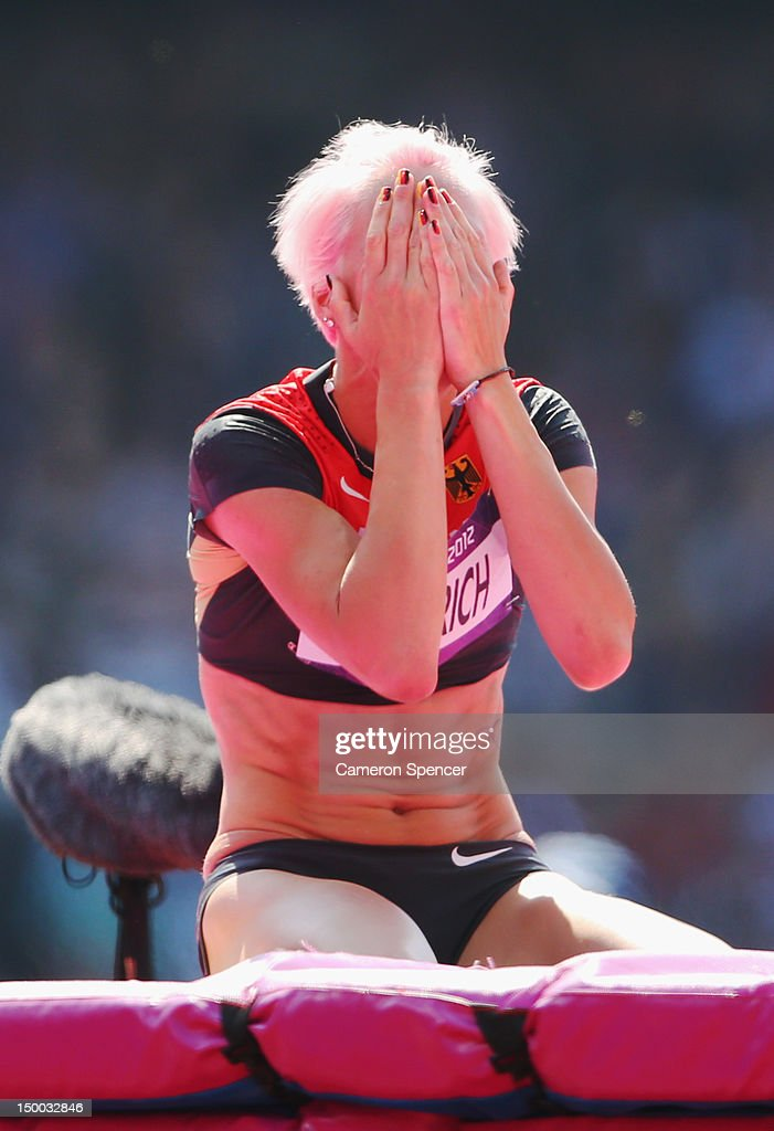 <a gi-track='captionPersonalityLinkClicked' href=/galleries/search?phrase=Ariane+Friedrich&family=editorial&specificpeople=2507867 ng-click='$event.stopPropagation()'>Ariane Friedrich</a> of Germany reacts after competing in the Women's High Jump qualification on Day 13 of the London 2012 Olympic Games at Olympic Stadium on August 9, 2012 in London, England.