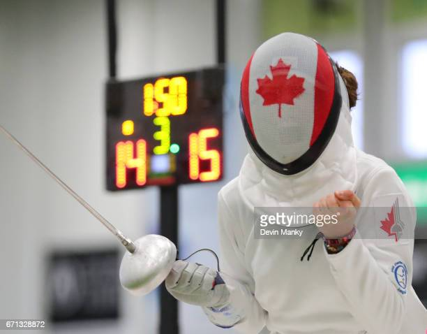 Ariane Leonard celebrates a 1514 victory in the gold medal match of the Cadet Women's Epee event on April 21 2017 at the Canadian National Fencing...