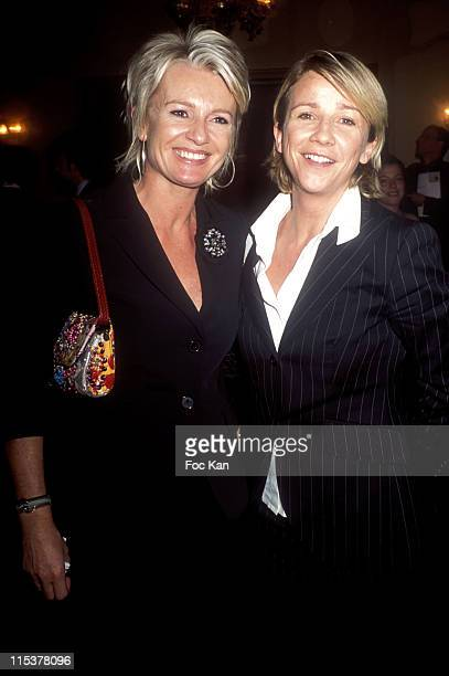 Ariane Massenet and Sophie Davant during Chateau Les Grand Chenes 18th Century Diner Hosted by Bernard Magrez at Pavillon Le Doyen in Paris France