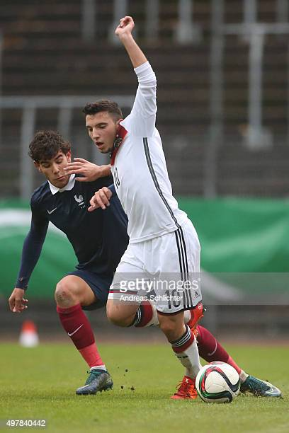 Arianit Ferati of Germany and Theo Hernandez of France during the U19 FourNationsCup Germany vs France on November 17 2015 in Homburg Germany'n