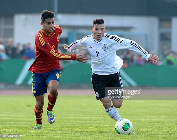 Arianit Ferati of Germany battles for the ball with Diego Altamiramo of Spain during the U17 international friendly match between Germany and Spain...