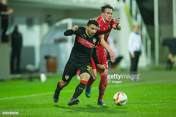 Arianit Ferati of VfB Stuttgart and Edgar Prib of Hannover 96 battle for the ball during the Friendly Match between Hannover 96 and VfB Stuttgart at...