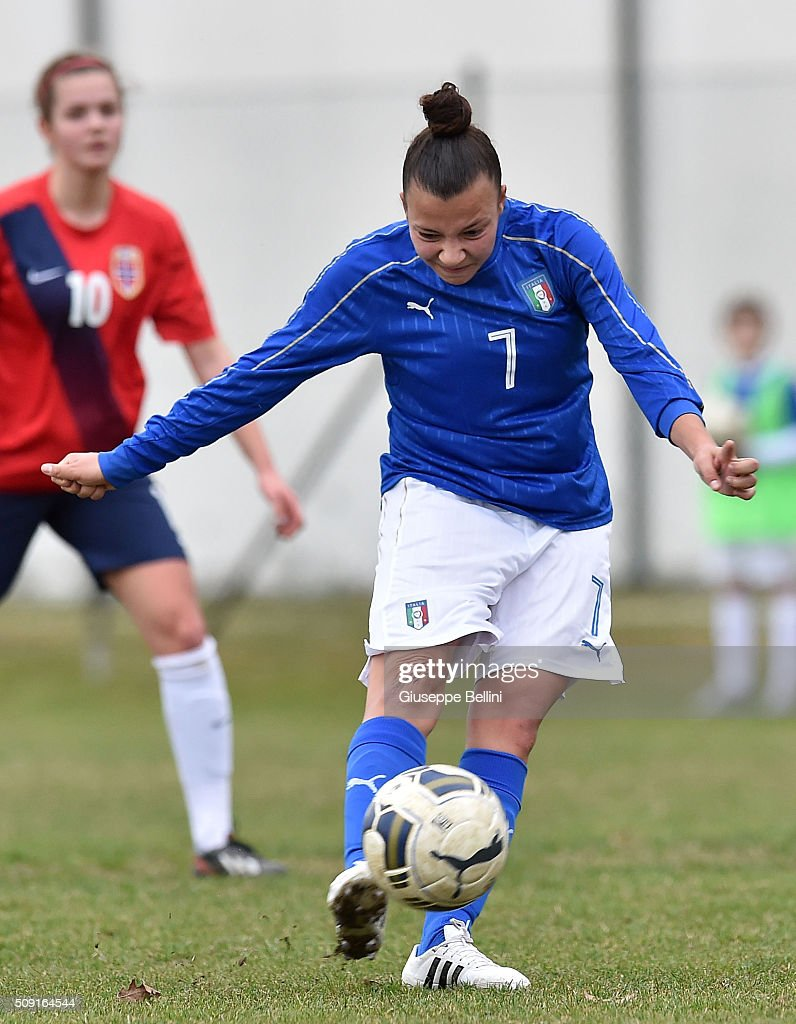 Arianna Caruso of Italy in action during the Women's U17 international friendly match between Italy and Norway on February 9, 2016 in Cervia, Italy.