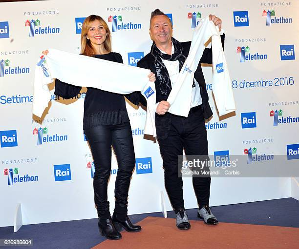 Arianna Ciampoli and Paolo Belli attend the 'Telethon' Press Conference on December 1 2016 in Rome Italy