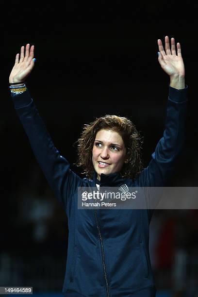 Arianna Errigo of Italy poses after winning the silver medal in her Women's Foil Individual Fencing Final match against Arianna Errigo of Italy on...