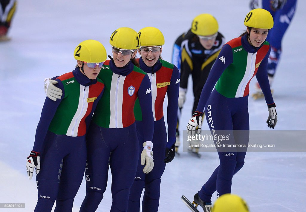 <a gi-track='captionPersonalityLinkClicked' href=/galleries/search?phrase=Arianna+Fontana&family=editorial&specificpeople=4680451 ng-click='$event.stopPropagation()'>Arianna Fontana</a> of Italy (L) celebrates with her team after the Ladies 3000 M Relay Final during day two of the ISU World Cup Short Track Speed Skating at EnergieVerbund Arena on February 7, 2016 in Dresden, Germany.