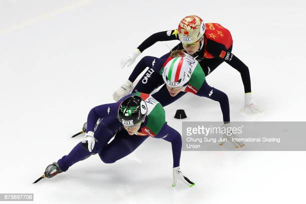 Arianna Fontana of Italy Martina Valcepina of Italy and Yutong Han of China compete in the Ladies 500m Quarterfinals during the Audi ISU World Cup...