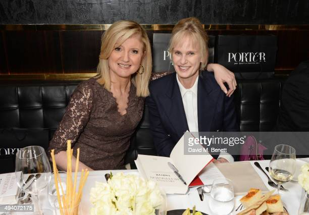 Arianna Huffington and author Siri Hustvedt attend a private dinner hosted by PORTER Magazine for author Siri Hustvedt at Toto's Restaurant on May 27...