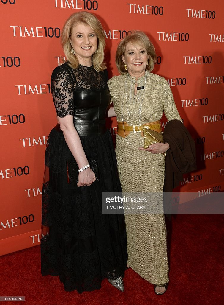 Arianna Huffington and Barbara Walters attend the Time 100 Gala celebrating the Time 100 issue of the Most Influential People In The World at Jazz at Lincoln Center on April 23, 2013 in New York.