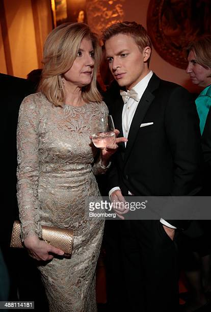 Arianna Huffington and journalist Ronan Farrow attend the Bloomberg Vanity Fair White House Correspondents' Association dinner afterparty in...