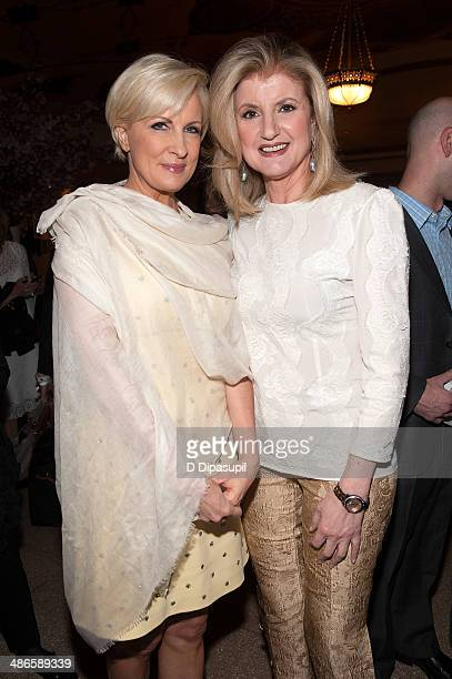 Arianna Huffington and Mika Brzezinski attend THRIVE A Third Metric Live Event at New York City Center on April 24 2014 in New York City
