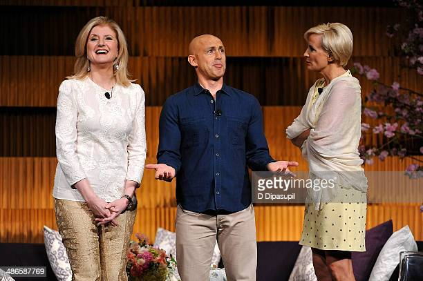 Arianna Huffington Andy Puddicombe and Mika Brzezinski attend THRIVE A Third Metric Live Event at New York City Center on April 24 2014 in New York...